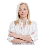 Attractive middle aged woman with folded arms isolated on white background - 200502023