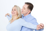 Middle aged Couple portrait isolated on white background. - 200502073