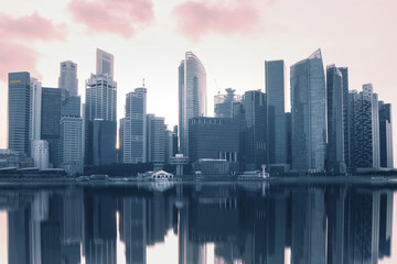Modern city business district skyline in Singapore.