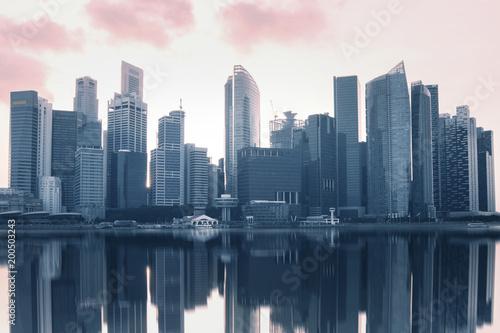 Sticker Modern city business district skyline in Singapore.
