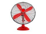 Modern office red fan in metal mesh for security 3d rendering on white background no shadow - 200505478