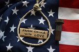 American Chinese Trade War concept. Flag of USA background - 200506620