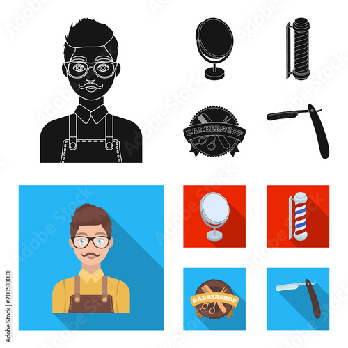 Male hairdresser, sign, mirror and other equipment for a hairdresser.Barbershop set collection icons in black, flat style vector symbol stock illustration web.