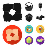 Gesture of the hands in support, a basket with food for charity, donor blood, a gift donation box. Charity and donation set collection icons in black, flat style vector symbol stock illustration web. - 200510218