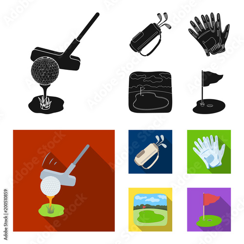 Fotobehang Bol A ball with a golf club, a bag with sticks, gloves, a golf course.Golf club set collection icons in black, flat style vector symbol stock illustration web.