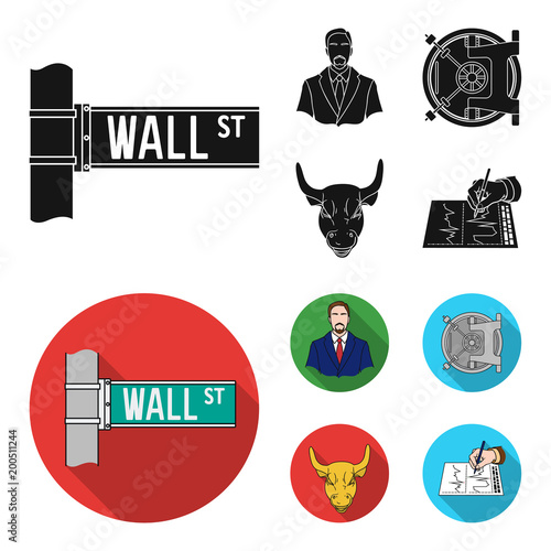 Wall Street, a businessman, a bank vault, a gold charging bull. Money and finance set collection icons in black, flat style vector symbol stock illustration web.