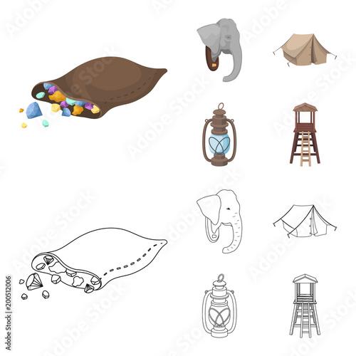 Torba z brylantami, głowa słonia, lampa naftowa, namiot. Afrykańskiego safari ustalone inkasowe ikony w kreskówce, konturu stylu symbolu zapasu ilustraci wektorowa sieć.