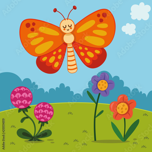 Cartoon Butterfly Character in Nature (Vector illustration) - 200514819