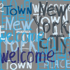 Vector graffiti seamless pattern with doodle building and words welcome, New York, city, town, place. Fashion hand drawing texture,  street art retro style for t-shirt, textile, wrapping paper.