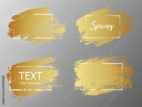 Vector gold paint stroke with border frame. Dirty artistic desig