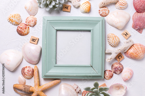 Empty frame  for text and marine  decorations   on white textured  background.