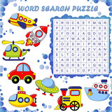 Word search puzzle. Vector education game for children. Transport - 200524678