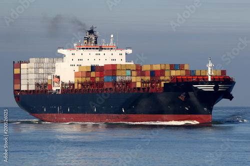 Canvas Rotterdam schwarzes Containerschiff