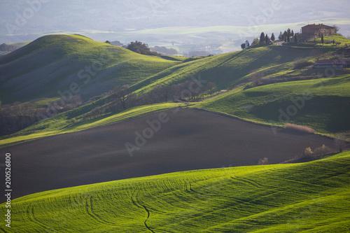 Toskania, Włochy. Wiosna krajobraz z tocznymi wzgórzami i zieloną łąką.