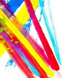 Multicolor abstract texture. Colorful, vivid grunge background. Paint brush strokes