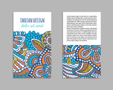 Indian style bright colorful mehendi ornament flyer. Front and back pages. Ornamental vertical blank with ethnic motifs. Paper brochure template. Oriental design concept. EPS 10 vector illustration. - 200534698