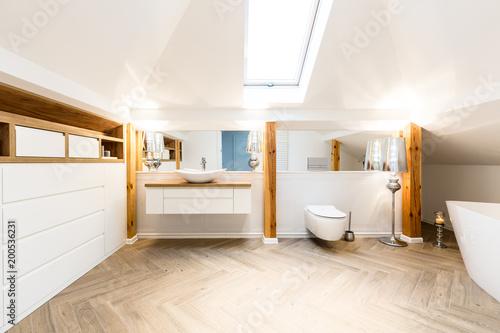 Interior of spacious bathroom