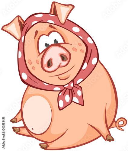 Fotobehang Babykamer Illustration of a Cute Pig. Cartoon Character