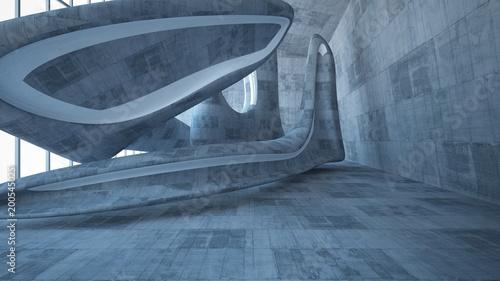 leerer-dunkler-abstrakter-konkreter-glatter-innenraum-architektonischer-hintergrund-3d-darstellung-und-renderi