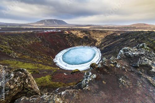Fotobehang Donkergrijs Kerid Crater in Iceland