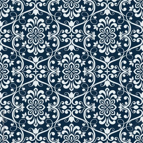 biala-i-ciemnoniebieska-bezszwowa-kwiecista-tapeta