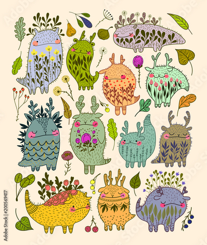 Cute floral monsters template  - 200569417