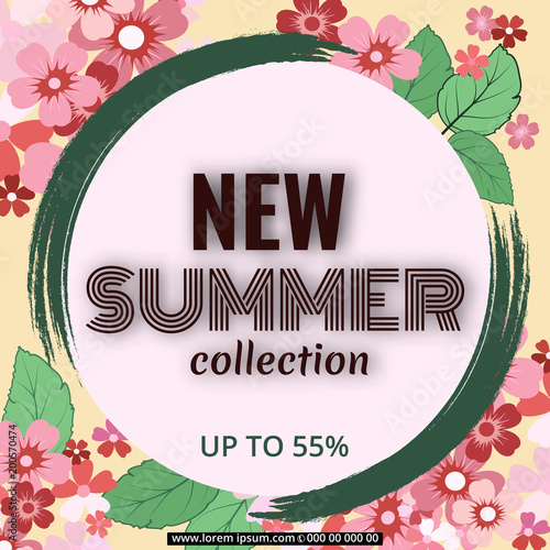 Summer banner with paper flowers for online shopping advertising summer banner with paper flowers for online shopping advertising actions magazines vector illustration mightylinksfo