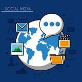 social media networks world with folder text photos video camera vector illustration - 200574609