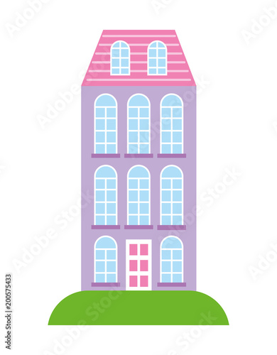 Sticker high building architecture urban image vector illustration