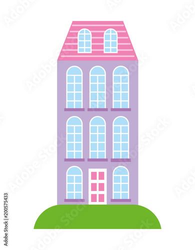 Sticker high building architecture urban image vector illustration