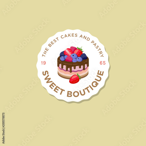 Sweet house logo. Cakes emblem. Bakery and cafe logo. A beautiful cake with strawberry, blueberry, dewberry, raspberry, sign.