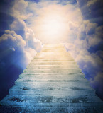 The Stairs to heaven. Way for a salvation . Religion metaphor. - 200579854