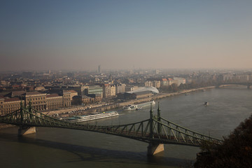 View of the Budapest Autumn and the Danube from Gellért Hill