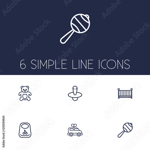 Set of 6 baby icons line style set. Collection of cot, breastplate, bus and other elements.