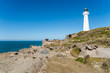 A lighthouse next to the ocean at Castle Point in New Zealand.