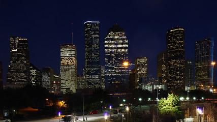Houston, Texas city center after dark