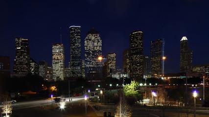 Houston, Texas city center at night