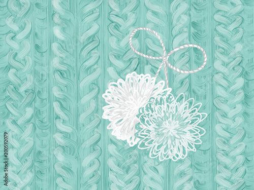 Colorful hand drawn texture of blue design knit texture with pompoms on white background, isolated fashion illustration painted by oil color brush, high quality © Iryna