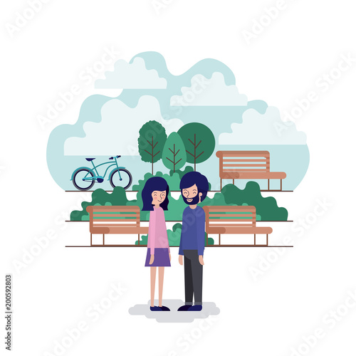 Foto op Canvas Wit couple in the park scene with chair and bicycle