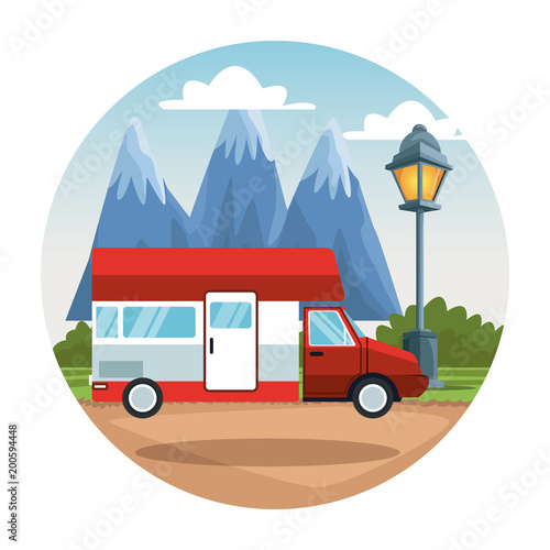 Poster Wit Caravan at nature landscape vector illustration graphic design