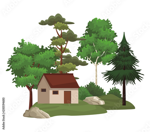 Foto op Canvas Wit House in nature landscape scenery vector illustration graphic design
