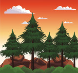 Beautiful landscape scenery cartoon vector illustration graphic design