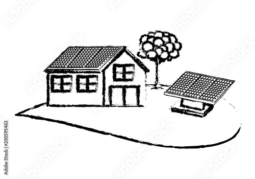 house solar panel leafy tree ecology energy alternative vector illustration sketch