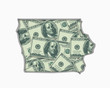 Iowa IA Money Map Cash Economy Dollars 3d Illustration