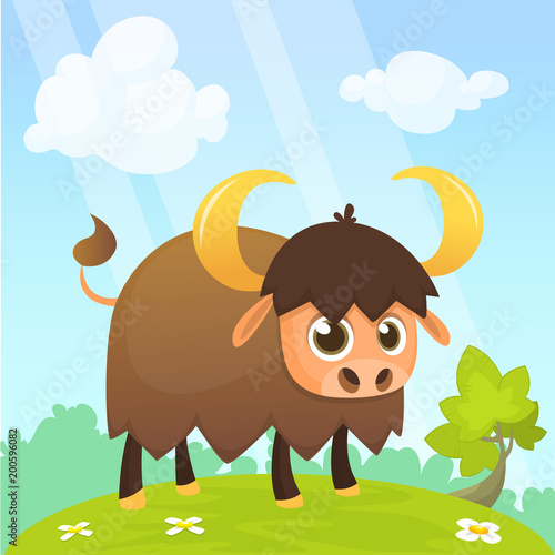 American bison cartoon character. Large bison male flat vector isolated on white. Buffalo icon. Animal illustration for zoo ad, nature concept, children book illustrating