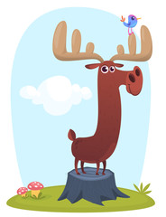 Cool cartoon moose standing on a stump. Vector illustration isolated on a wood background