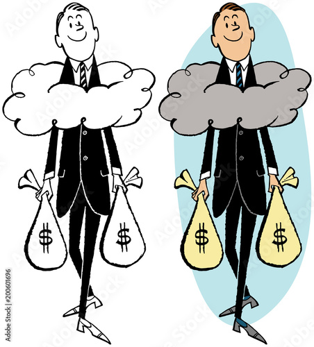 A man carrying money bags keeping his head above the clouds.