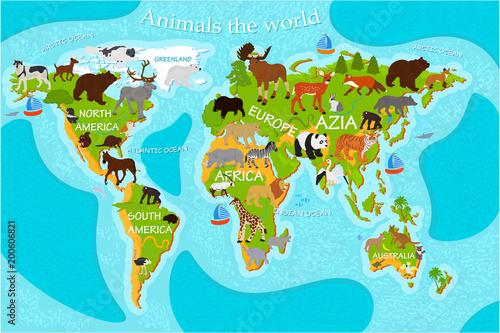 Mapa świata ze zwierzętami