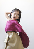 Thai kid in tradition Thai dress costume on white