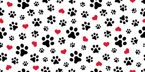 Dog Paw Seamless pattern vector heart isolated scarf valentine wallpaper background © CNuisin